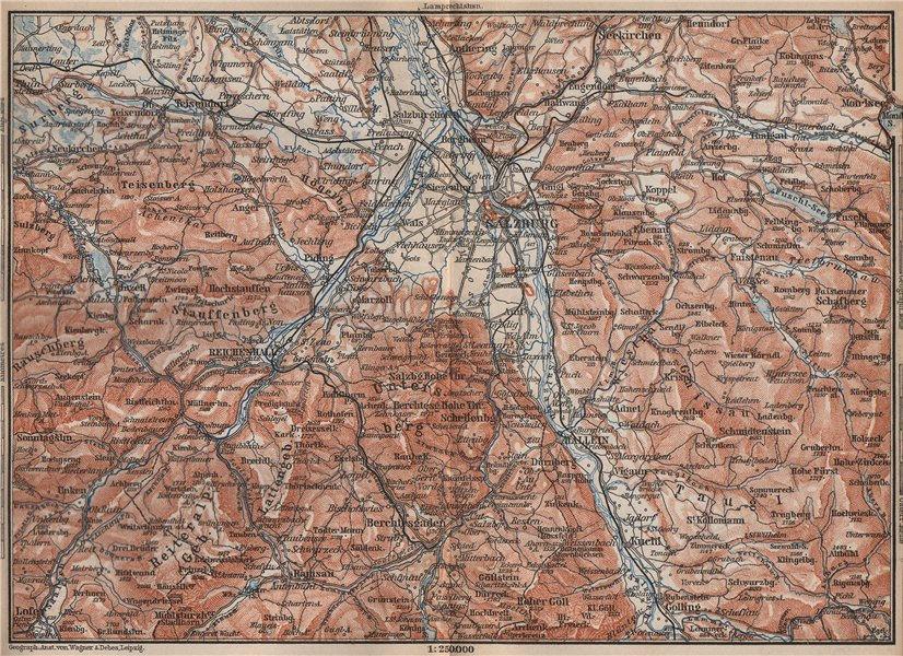 Associate Product SALZBURG environs. Berchtesgaden Faistenau Seekirchen Reichenhall 1895 old map
