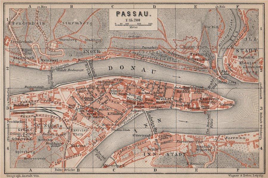 Associate Product PASSAU town city plan stadtplan. Inn Donau/Danube. Germany Deutschland 1895 map