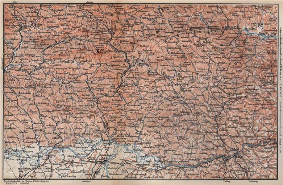 Associate Product BAYRISCHERWALD. Bavarian Forest Cham Passau Böhmerwald karte. BAEDEKER 1895 map