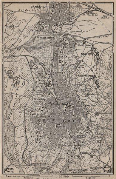 Associate Product STUTTGART town city stadtplan & umgebung. Cannstatt. Baden-Württemberg 1902 map