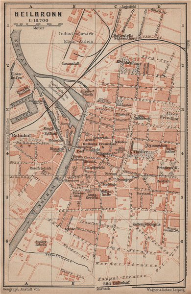 Associate Product HEILBRONN antique town city stadtplan. Baden-Württemberg karte 1902 old map