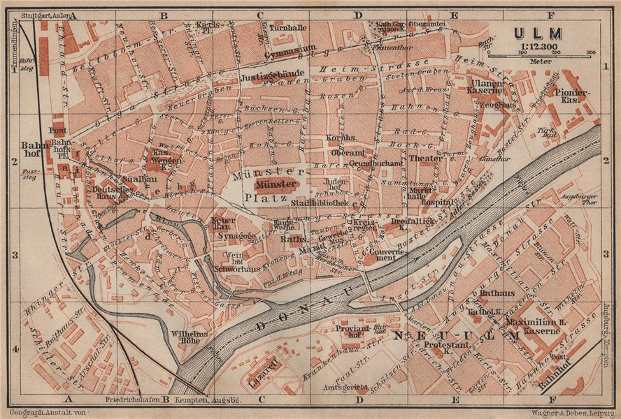 Associate Product ULM antique town city stadtplan. Baden-Württemberg karte. BAEDEKER 1902 map