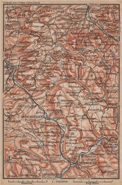 Associate Product SCHWÄBISCHE ALB Südwest. Swabian Jura. Obere Donau Balingen Tuttlingen 1902 map