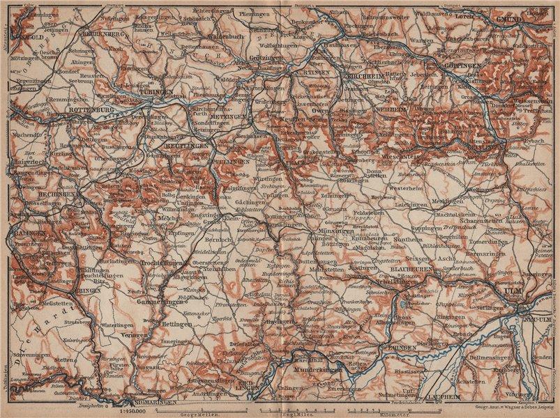 Associate Product SCHWÄBISCHE ALB. Swabian Jura topo-map. Ulm Rottenburg Gmünd Kirchheim 1902