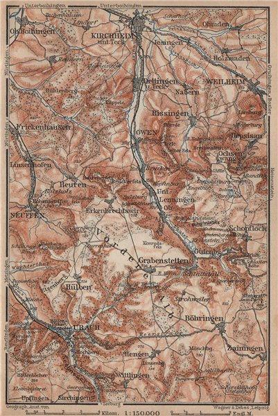 Associate Product KIRCHHEIM UNTER TECK & umgebung. Lauter valley Bad Urach Weilheim Burg 1902 map