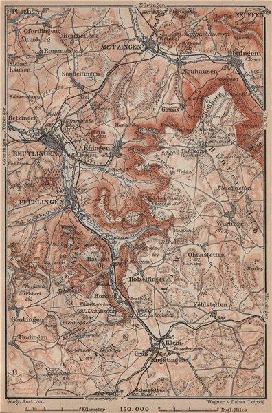 Associate Product REUTLINGEN Metzingen Pfullingen. Schwäbische Alb. Swabian Jura karte 1902 map