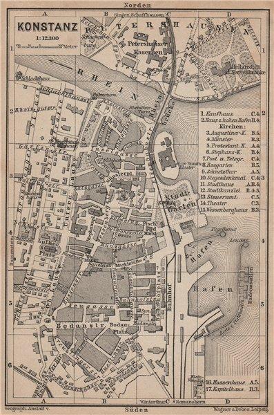 Associate Product CONSTANCE. KONSTANZ. town city stadtplan. Germany karte. BAEDEKER 1902 old map