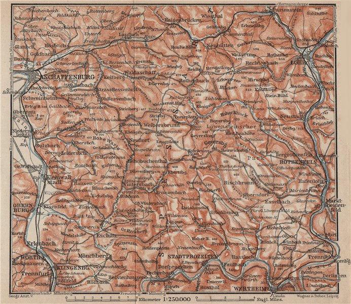 Associate Product SPESSART topo-map. Aschaffenburg Lohr am Main Zertheim Geiersberg 1902 old