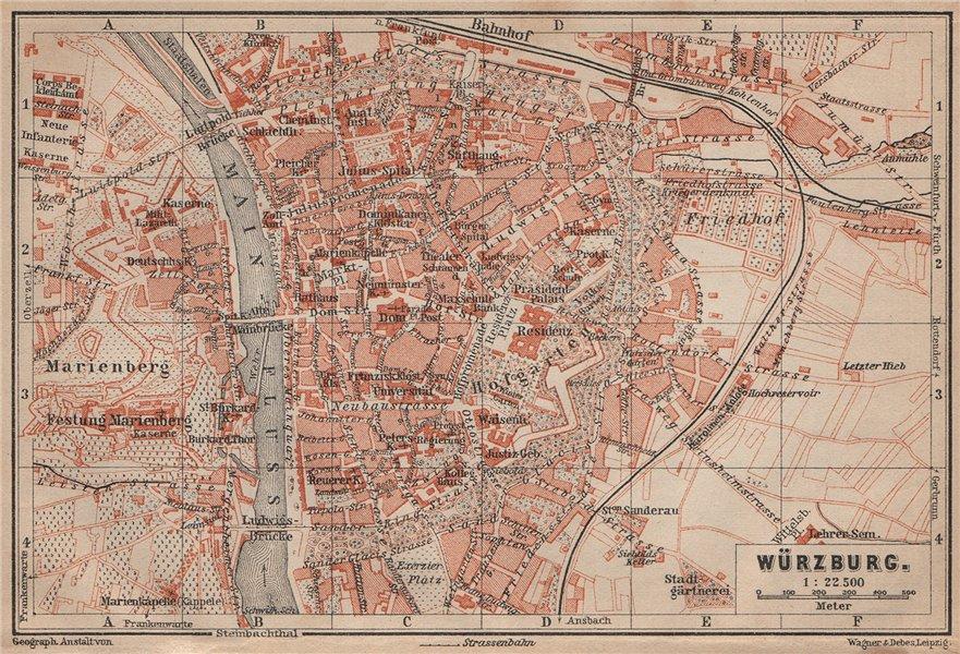 Associate Product WÜRZBURG town city stadtplan & umgebung/environs. Wurzburg. Bavaria 1902 map