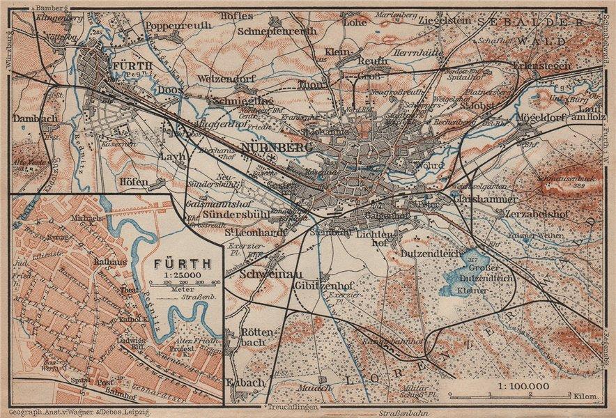 Associate Product NÜREMBURG (NURNBERG) & FÜRTH town city stadtplan. Bavaria karte 1902 old map