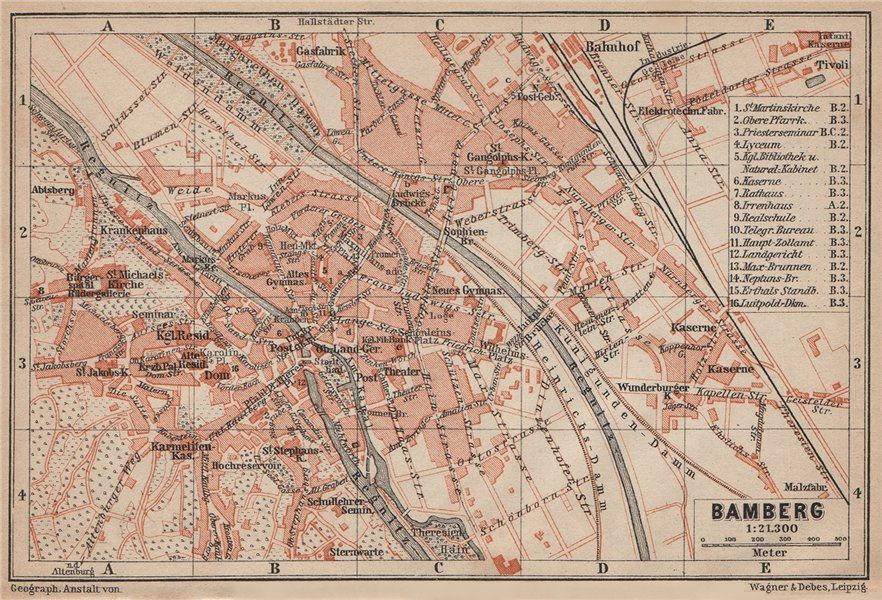 Associate Product BAMBERG antique town city stadtplan. Bavaria karte. BAEDEKER 1902 old map