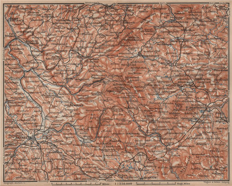 Associate Product FICHTELGEBIRGE. Fichtel Mountains. Bayreuth Münchberg Wunsiedel Selb 1902 map