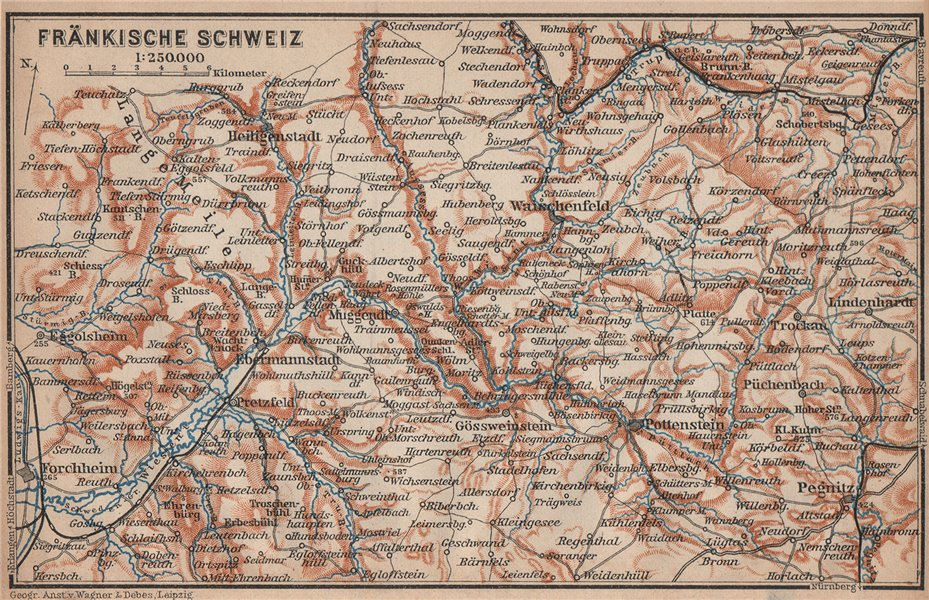 Associate Product FRANCONIAN SWITZERLAND. FRÄNKISCHE SCHWEIZ topo-map. Deutschland karte 1902