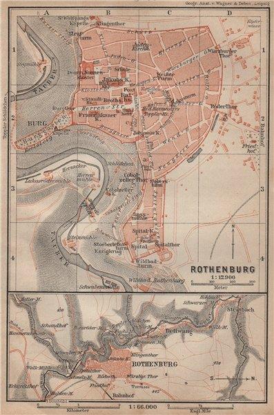 Associate Product ROTHENBURG OB DER TAUBER town city stadtplan. Bavaria, Deutschland 1902 map