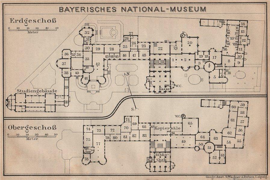 Associate Product BAVARIAN / BAYERISCHES NATIONALMUSEUM floor plan. Munich München karte 1902 map