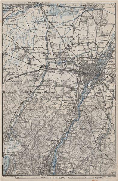 Associate Product MÜNCHEN MUNICH environs/umgebung. Pasing Dachau. Forstenrieder Baier 1902 map