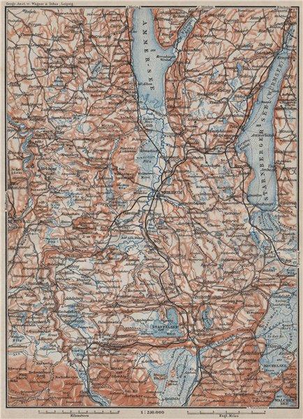 Associate Product STARNBERGERSEE & AMMERSEE. Weilheim Schongau Murnau Starnberg karte 1902 map