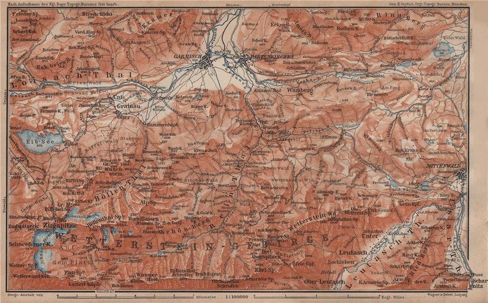 Associate Product GARMISCH-PARTENKIRCHEN environs. Mittenwald. Deutschland/Österreich 1902 map