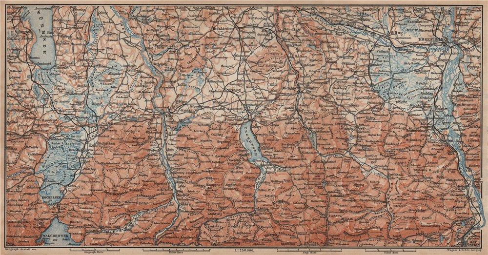 Associate Product BAYERISCHE ALPEN. Bavarian Alps. Lenggries Spitzingsee Bayrischzell 1902 map