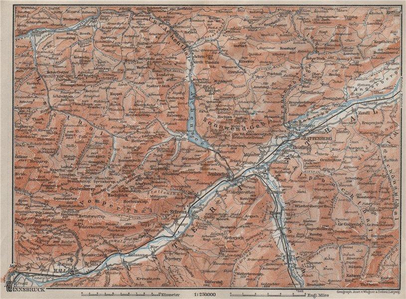 Associate Product ACHENSEE environs/umgebung. Unterinntal Rattenberg Innsbruck Karwendel 1902 map
