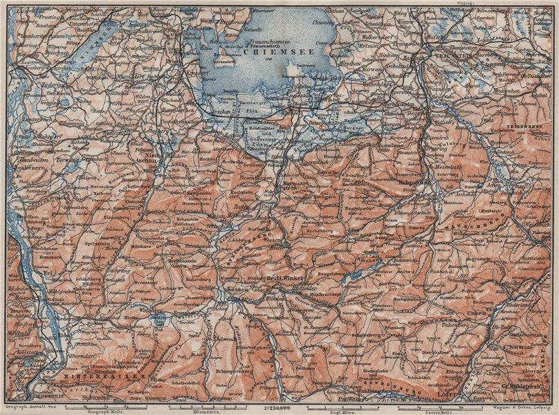 Associate Product CHIEMSEE, CHIEMGAU & environs. Kufstein Traunstein Lofer Kössen karte 1902 map