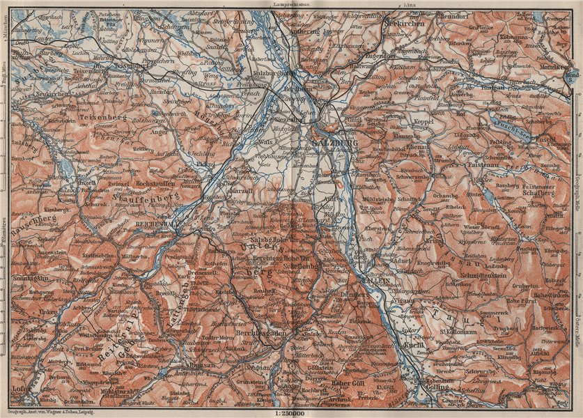 Associate Product SALZBURG environs. Berchtesgaden Faistenau Seekirchen Reichenhall 1902 old map