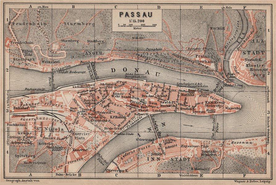 Associate Product PASSAU town city plan stadtplan. Inn Donau/Danube. Germany Deutschland 1902 map