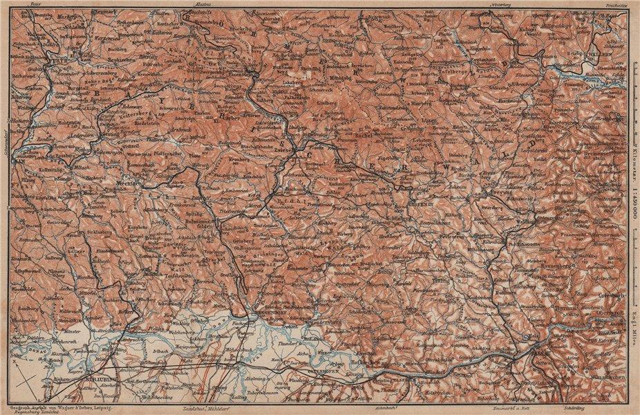 Associate Product BAYRISCHERWALD. Bavarian Forest Cham Passau Böhmerwald karte. BAEDEKER 1902 map