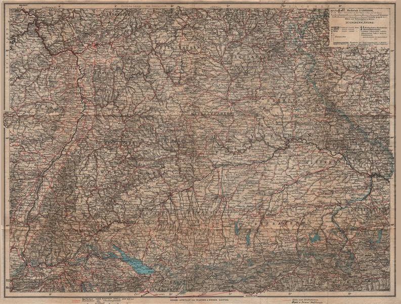 Associate Product SOUTH GERMANY SÜD-DEUTSCHLAND Bavaria Bayern Baden Württemberg Franken 1907 map