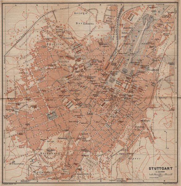 Associate Product STUTTGART antique town city stadtplan. Baden-Württemberg karte 1907 old map