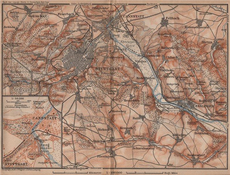 Associate Product STUTTGART environs/umgebung.Cannstatt Esslingen Fellbach Hommelshausen 1907 map