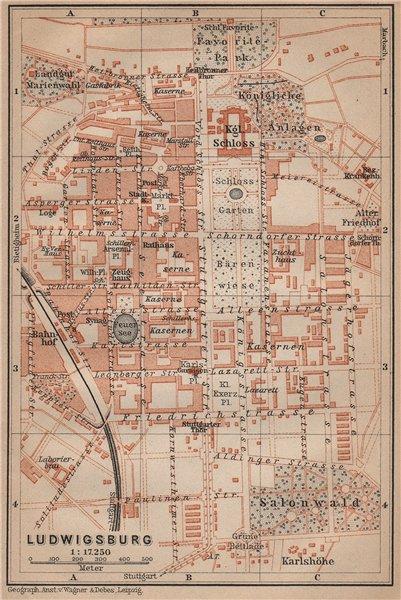 Associate Product LUDWIGSBURG town city stadtplan. Baden-Württemberg. Schloss karte 1907 old map