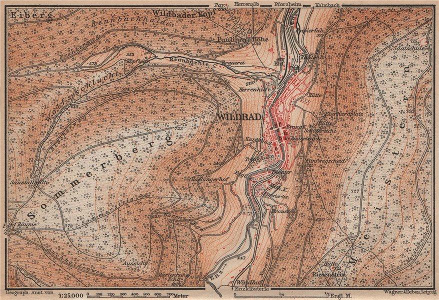 Associate Product BAD WILDBAD & environs/umgebung. Sommerberg. Baden-Württemberg karte 1907 map