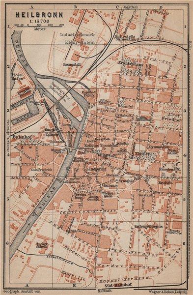 Associate Product HEILBRONN antique town city stadtplan. Baden-Württemberg karte 1907 old map