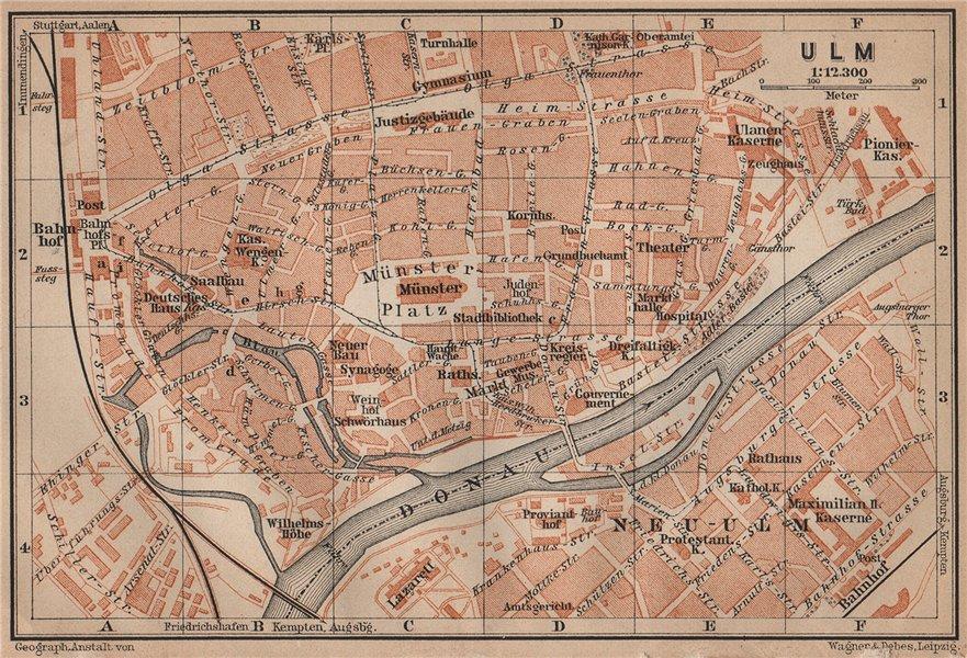 Associate Product ULM antique town city stadtplan. Baden-Württemberg karte. BAEDEKER 1907 map