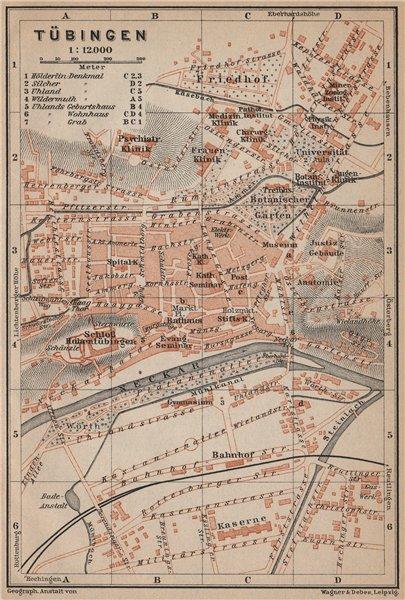 Associate Product TÜBINGEN town city stadtplan. Baden-Württemberg. Tubingen karte 1907 old map