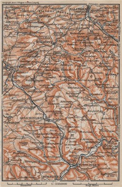 SCHWÄBISCHE ALB Südwest. Swabian Jura. Obere Donau Balingen Tuttlingen 1907 map