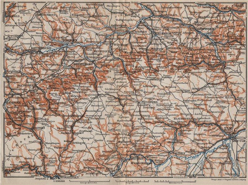 Associate Product SCHWÄBISCHE ALB. Swabian Jura topo-map. Ulm Rottenburg Gmünd Kirchheim 1907