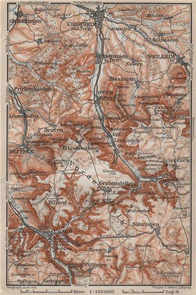Associate Product KIRCHHEIM UNTER TECK & umgebung. Lauter valley Bad Urach Weilheim Burg 1907 map