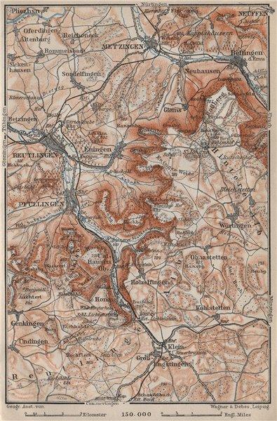 Associate Product REUTLINGEN Metzingen Pfullingen. Schwäbische Alb. Swabian Jura karte 1907 map