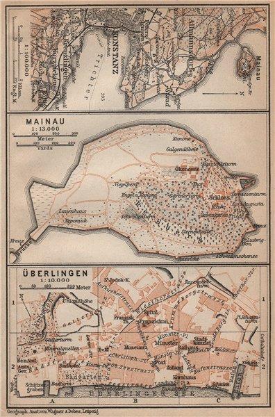 BODENSEE LAKE CONSTANCE Konstanz Mainau Überlingen town city stadtplan 1907 map