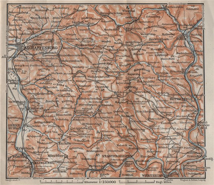 Associate Product SPESSART topo-map. Aschaffenburg Lohr am Main Zertheim Geiersberg 1907 old