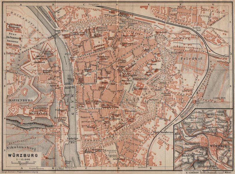 Associate Product WÜRZBURG town city stadtplan & umgebung/environs. Wurzburg. Bavaria 1907 map