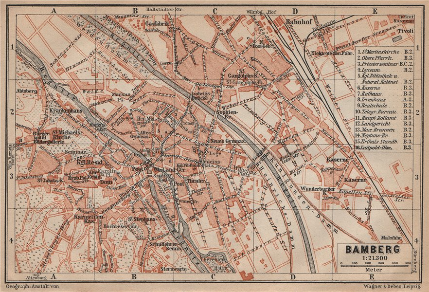 Associate Product BAMBERG antique town city stadtplan. Bavaria karte. BAEDEKER 1907 old map