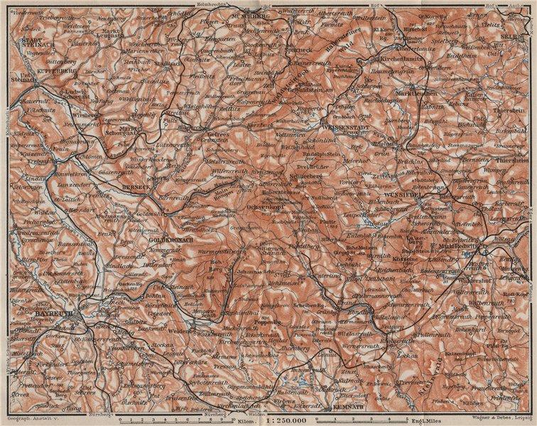 Associate Product FICHTELGEBIRGE. Fichtel Mountains. Bayreuth Münchberg Wunsiedel Selb 1907 map