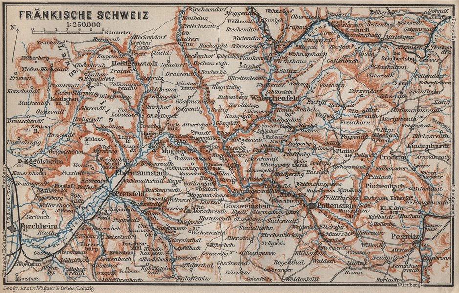 Associate Product FRANCONIAN SWITZERLAND. FRÄNKISCHE SCHWEIZ topo-map. Deutschland karte 1907