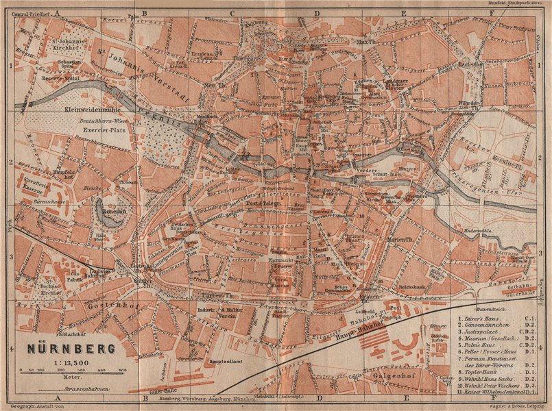 Associate Product NÜRNBERG town city centre/innere stadtplan. Nuremberg. Bavaria karte 1907 map