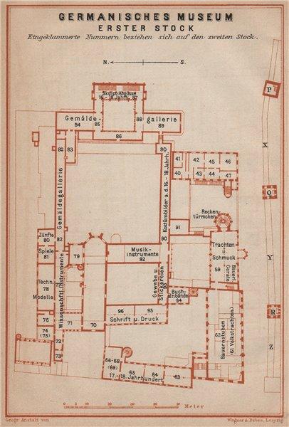 Associate Product GERMANISCHES NATIONALMUSEUM, NÜRNBERG Nuremberg. First floor plan 1907 old map