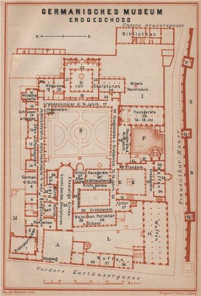 Associate Product GERMANISCHES NATIONALMUSEUM, NÜRNBERG Nuremberg. Ground floor plan 1907 map