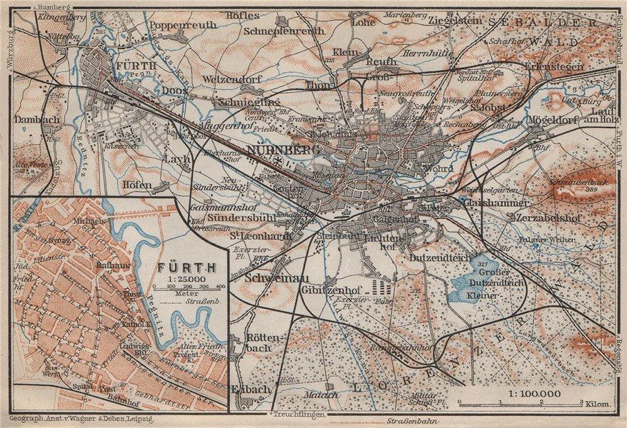 Associate Product NÜREMBURG (NURNBERG) & FÜRTH town city stadtplan. Bavaria karte 1907 old map